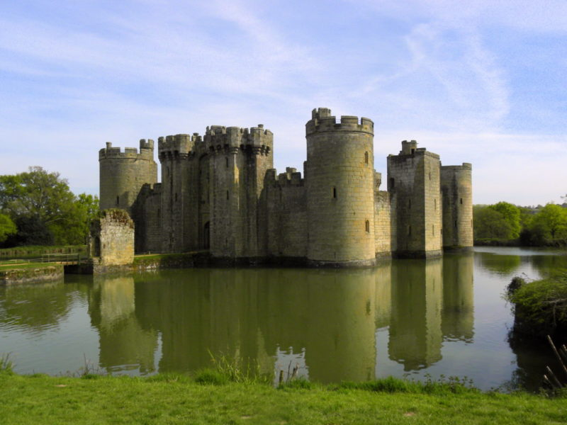 Bodiam Castle England children ruins East Sussex