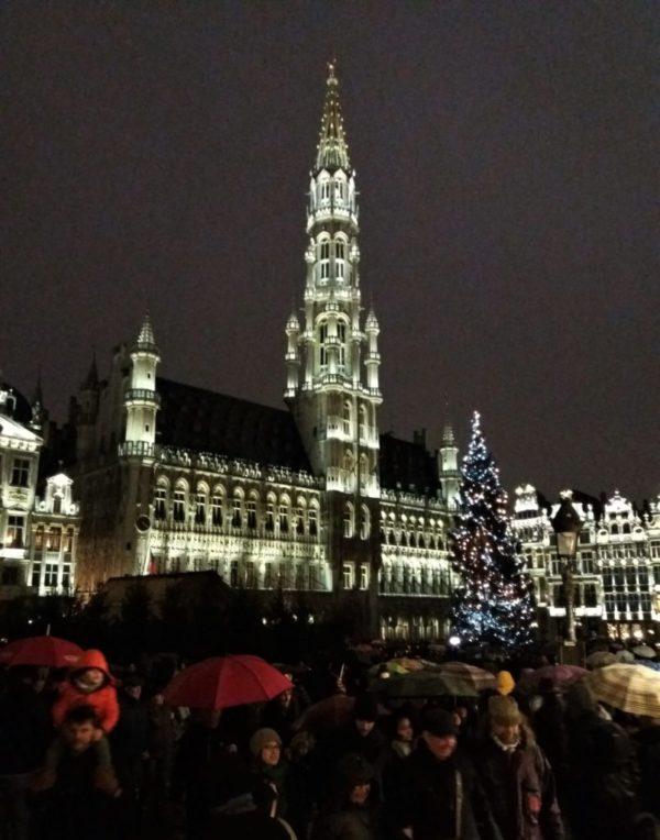 Brussels, Grand-Place, son et lumiere, winter festivities